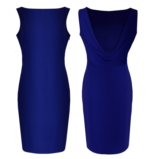 blue cowl back dress