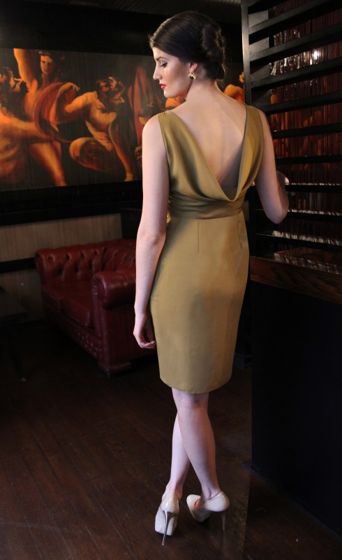 cowl back dress